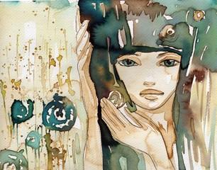 Keuken foto achterwand Schilderkunstige Inspiratie young girl's fancy.