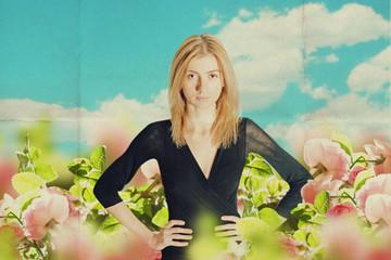 art image with beautiful woman