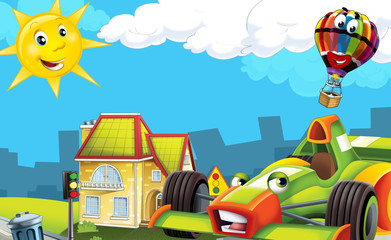 Printed roller blinds Cars Cartoon city look with f1
