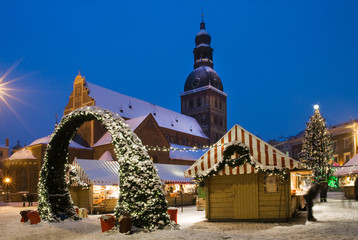 Riga Cathedral square in Christmas