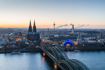 Cologne skyline in the evening