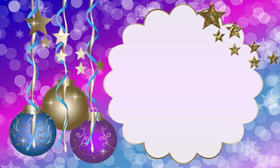 "Christmas and New Year greeting card ""Balls and Stars"""