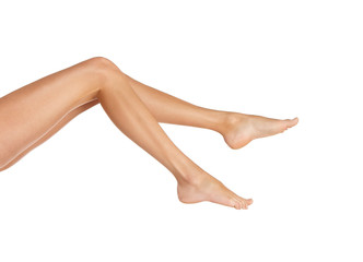 Healthy perfect female legs isolated on white background