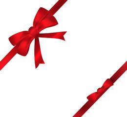 Red bow ribbon illustration on white background