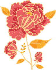 Vector golden and red flower design element in hand drawn style.
