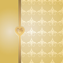 yellow background with a golden tibbon and heart button