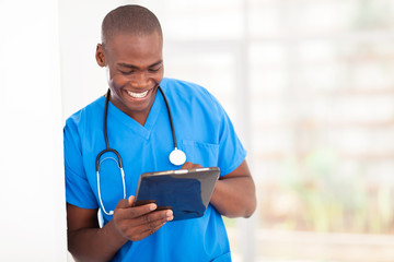 african american medical worker using tablet computer