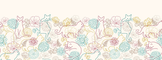 Vector cats among flowers horizontal seamless pattern ornament