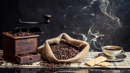 Fototapete - Fragrance of vintage brewing coffee