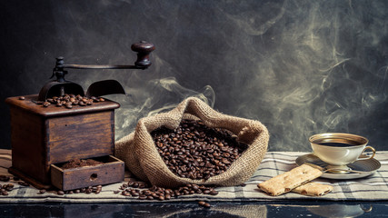 Scent of vintage brewing coffee on smoke background