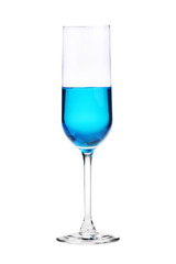 wineglass with blue cocktail