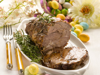 roasted meat over easter table