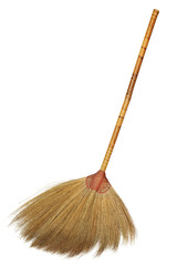 Straw broom isolated on white background
