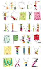 a set of letters, sewing kit