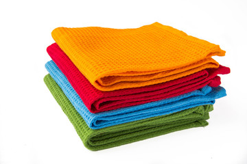 A stack of colorful towels
