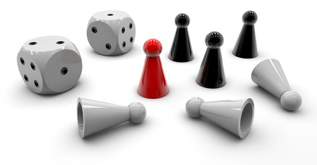 Fototapeta Game - cube and the pawn obraz