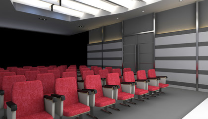 cinema hall with red chairs