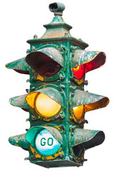 Vintage American traffic light isolated on white