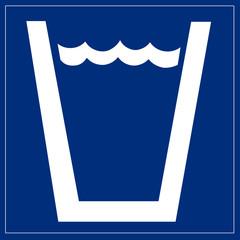 Papier Peint - Schild blau - Wasserglas