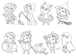 Wall Mural - Happy Halloween. Funny little children in colorful costumes