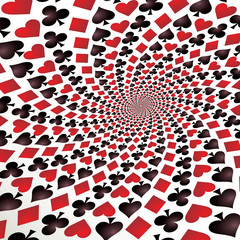 Keuken foto achterwand Psychedelic Card suit. Hearts, diamonds, spades and clubs. Vector