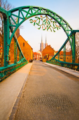Bridge of lovers and cathedral at Christmas in Wroclaw, Poland