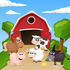 Poster Ranch Vector Farm Animals