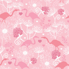 Pink flamingo in love vector seamless pattern background with