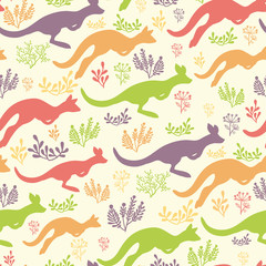 Jumping kangaroo vector seamless pattern background with hand