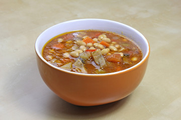 bowl of vegetarian stew-goulash soup with soybeans