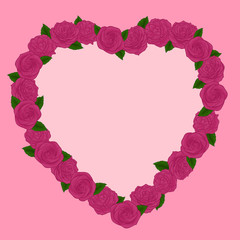 Beautiful frame of pink roses in a heart