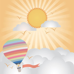 Printed roller blinds Heaven hot air balloon flying on good weather background : evening time
