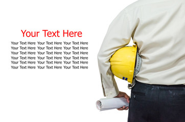 Foreman holding a yellow hardhat with sample text