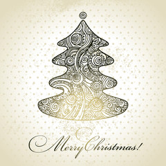 Christmas tree. Hand drawn illustration