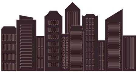brown isolated skyscraper - modern urban landscape