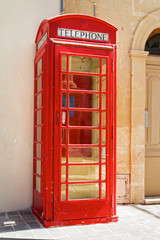 Classic British red phone booth