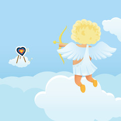 Fotorollo Himmel Funny cupid's shooting range Valentine's Day illustration