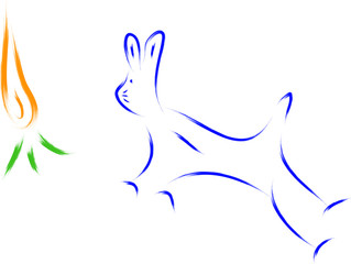 bunny and carrot sketch vector
