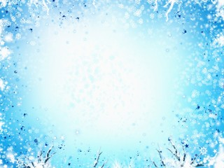 winter frame light blue background, with stars and snowflakes