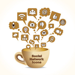 Set of Social Network Icons Stock Vector