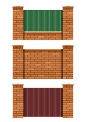 brick fence set of vector illustration EPS10. Transparent