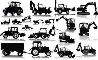 Set of 18 silhouettes of a tractors of road service
