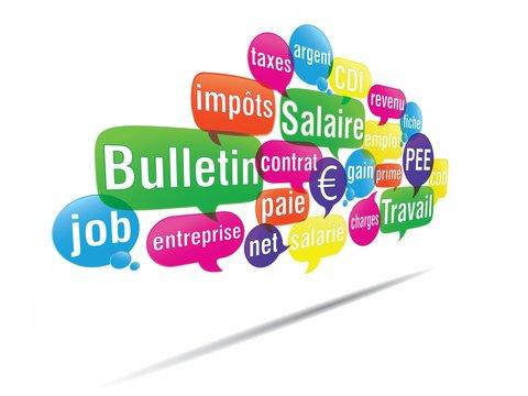 nuage de mots bulles 3d : salaire travail