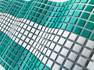 3D Illustration of Metallic Cubes Background