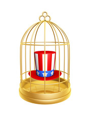 golden birdcage and hat of USA