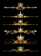 Vector set. Victorian Scrolls and crown.