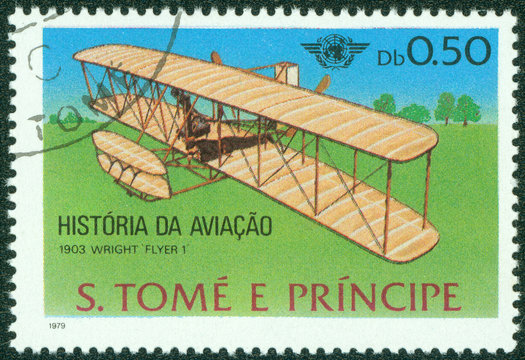 stamp shows plane wright Flyer I, 1903