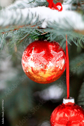 Christmas tree red ball decorations