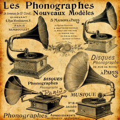 Wall Mural - Les phonographes