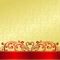 Luxury Background decorated a vintage ornament: gold and red.